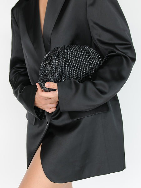 Mini Woven Black Leather Clutch