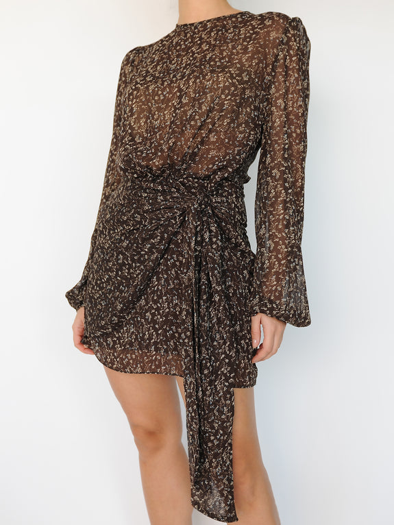 Sheer Floral Long Sleeve Mini Dress With a Wrap - Marble Hive