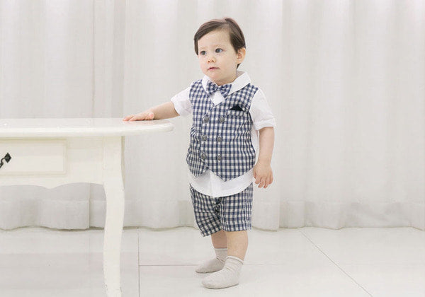 Check tie suit 3 piece set Gray&Navy Cut Baby boy suit Baby Boy Outfits Short Sleeve Gentleman Bow Tie Overalls Clothes Set
