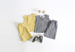 Moshi Stripe Clothes set (Gray/Mustard) baby clothes baby clothing baby product Summer Spring Fashion baby