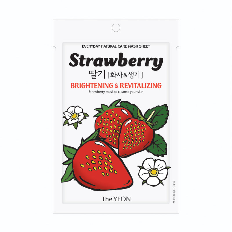 The YEON Everyday Natural Care Mask Sheet STRAWBERRY [Brightening & Revitalizing]