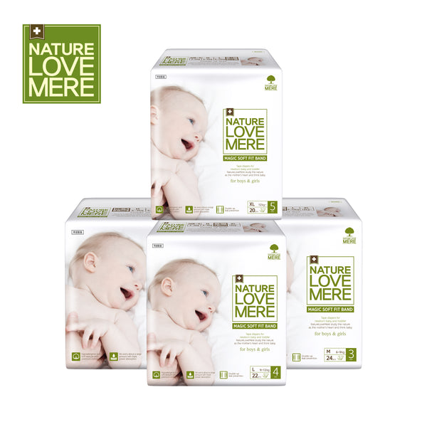 NATURE LOVE MERE Magic Soft Fit  Band Diaper (1Box: 4Packs) Size: New born~S/M/L/XL