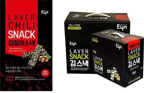 EYN Laver Chili Snack 20g - Box of 12 - Dotrade Express. Trusted Korea Manufacturers. Find the best Korean Brands