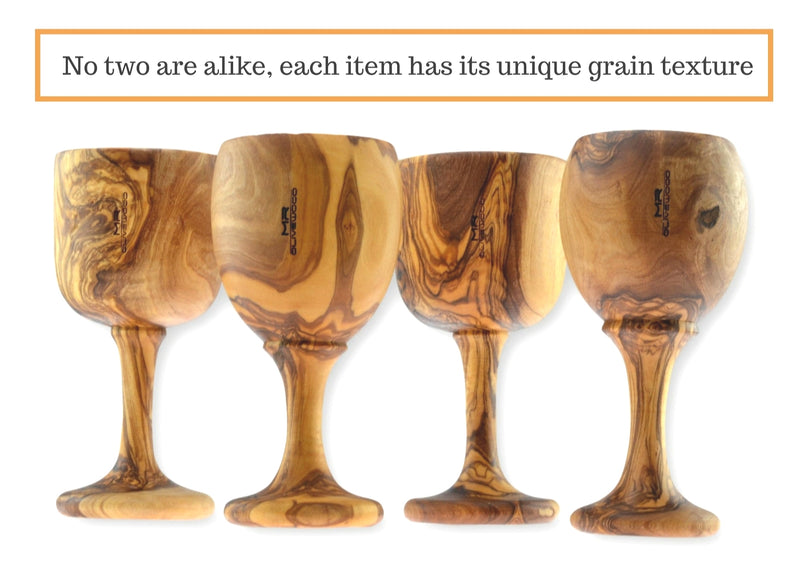 4 wooden olive wood Goblets / Chalice Cups verre coupe gobelet en bois d'olivier by MR OLIVEWOOD® wholesale manufacturer US based supplier USA Canada