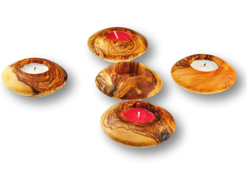 5 wooden olive wood round candle holders porte-bougie en bois d'olivier by MR OLIVEWOOD® wholesale manufacturer US based supplier USA Canada