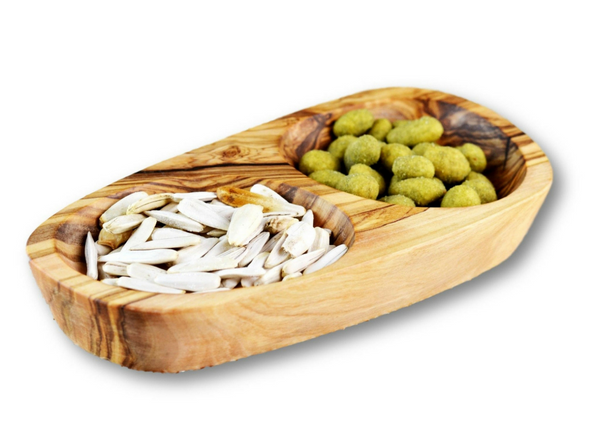 Olive Wood wooden serving appetizer dish 2 sections By MR OLIVEWOOD® Wholesale Manufacturer Supplier USA canada