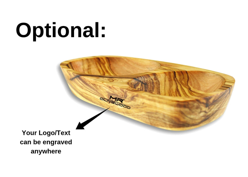 Olive Wood wooden serving appetizer dish 3 sections branding engraving By MR OLIVEWOOD® Wholesale Manufacturer Supplier USA canada