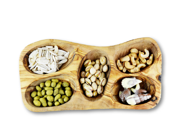 Olive Wood wooden serving appetizer dish 5 sections By MR OLIVEWOOD® Wholesale Manufacturer Supplier USA canada