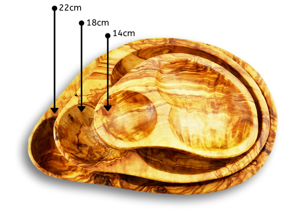 Olive Wood wooden serving shell appetizer dishes stackable 3 sizes set of 3 By MR OLIVEWOOD® Wholesale Manufacturer Supplier USA canada