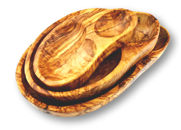 Olive Wood wooden serving shell appetizer dishes stackable set of 3 By MR OLIVEWOOD® Wholesale Manufacturer Supplier USA canada