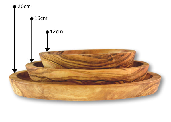 Olive Wood wooden serving oval appetizer dishes stackable set of 3 in 3 sizes  By MR OLIVEWOOD® Wholesale Manufacturer Supplier USA canada