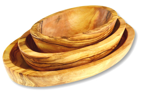 Olive Wood wooden serving oval appetizer dishes stackable set of 3 By MR OLIVEWOOD® Wholesale Manufacturer Supplier USA canada