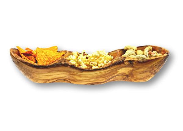 Olive Wood wooden rustic appetizer serving dish 3 sections with food By MR OLIVEWOOD® Wholesale Manufacturer Supplier USA canada