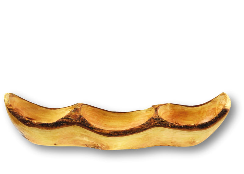 Olive Wood wooden rustic appetizer serving dish 3 sections By MR OLIVEWOOD® Wholesale Manufacturer Supplier USA canada