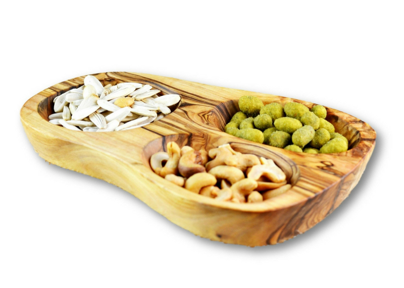 Olive Wood wooden serving appetizer dish 3 sections By MR OLIVEWOOD® Wholesale Manufacturer Supplier USA canada