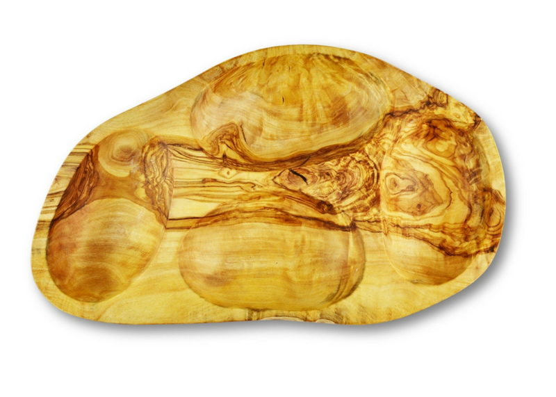 Olive Wood wooden serving appetizer dish 4 sections By MR OLIVEWOOD® Wholesale Manufacturer Supplier USA canada