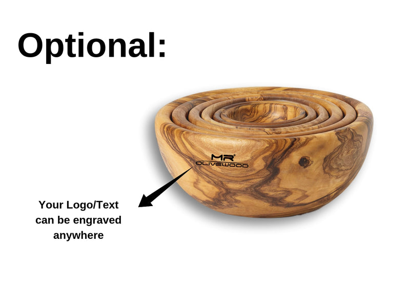 Olive Wood wooden nesting bowls set of 6 branding engraving By MR OLIVEWOOD® Wholesale Manufacturer Supplier USA Canada