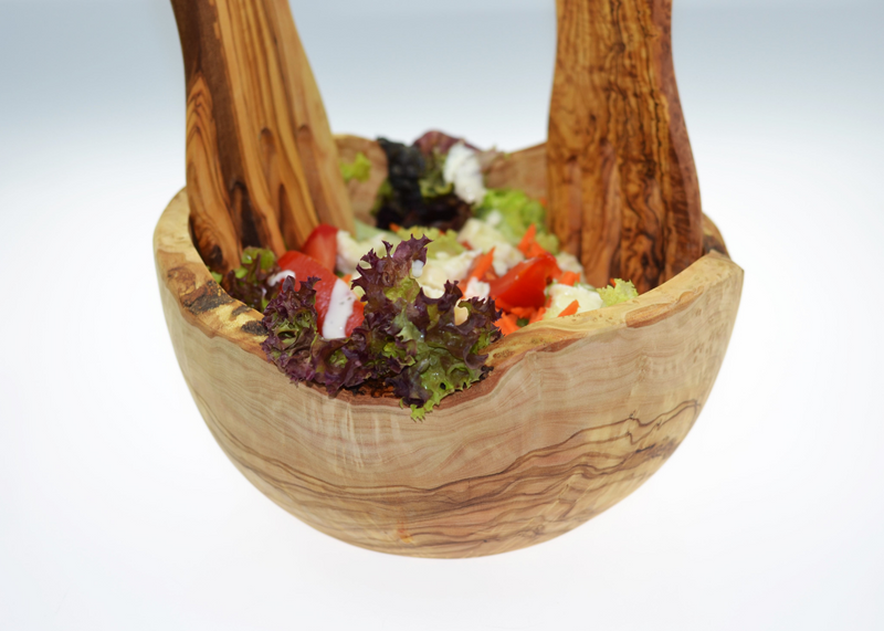 Olive Wood wooden Salad Bowl with salad hands Rustic By MR OLIVEWOOD® Wholesale Manufacturer Supplier USA canada