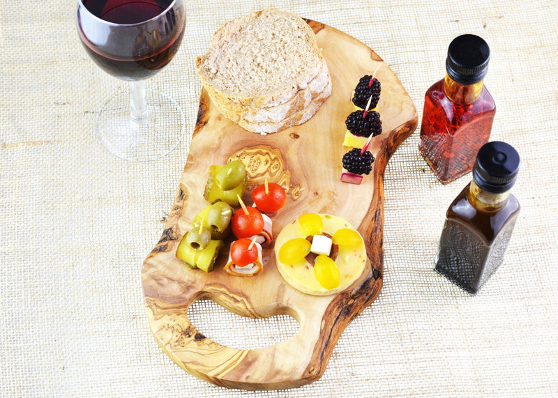 wooden olive wood rustic chopping cutting carving cheese steak serving handle board with food planche en bois d'olivier by MR OLIVEWOOD® Wholesale USA Canada