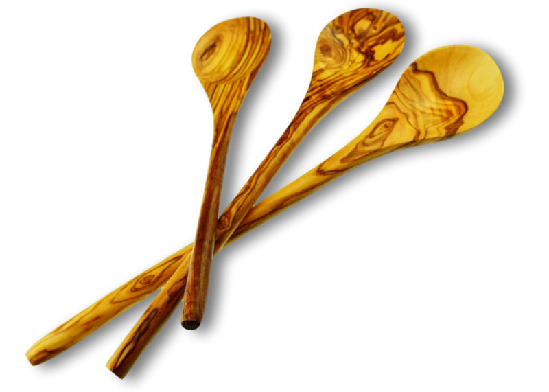 olive wood round spoon wooden spoon set of 3 by MR OLIVEWOOD® wholesale USA & Canada