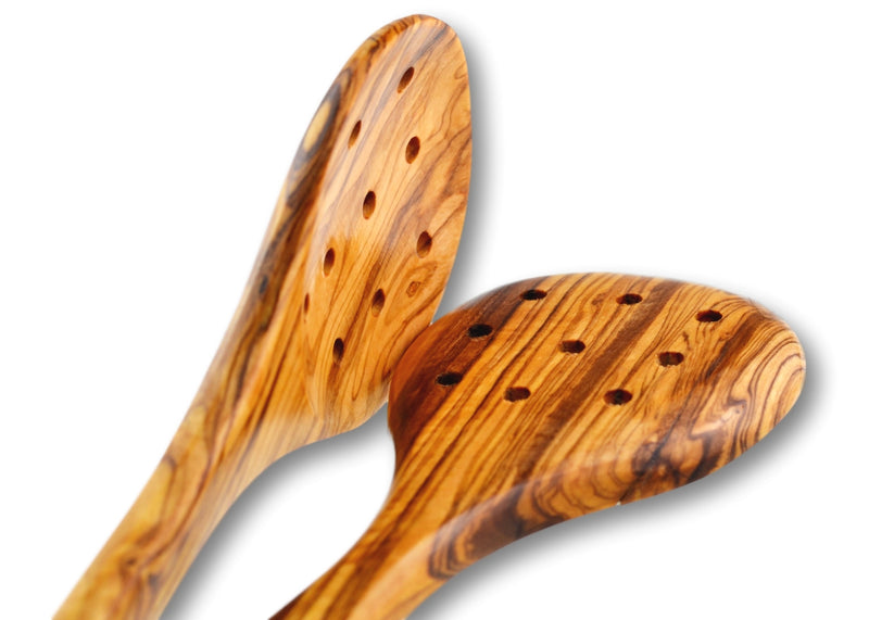 2 wooden Olive Wood pierced large cooking spoons closer look  cuillerée à soupe cuillère de cuisson large en bois d'olivier by MR OLIVEWOOD® wholesale manufacturer US based supplier USA Canada