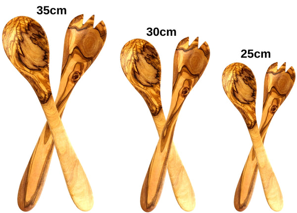olive wood salad servers wooden salad servers 3 sizes by MR OLIVEWOOD® wholesale USA & Canada