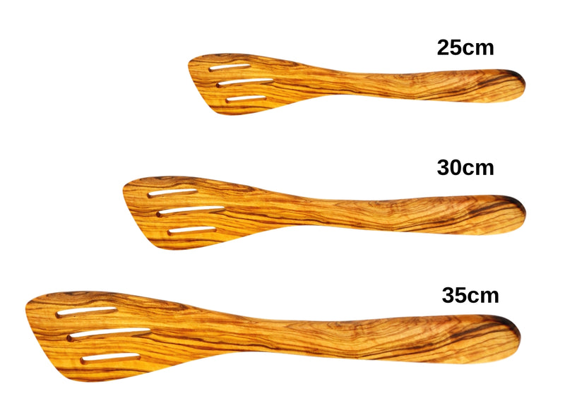 olive wood slotted spatula wooden slotted spoon spatula 3 sizes by MR OLIVEWOOD® wholesale USA & Canada