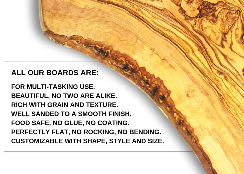 wooden olive wood oval rustic board characteristics planche en bois d'olivier by MR OLIVEWOOD® Wholesale USA Canada