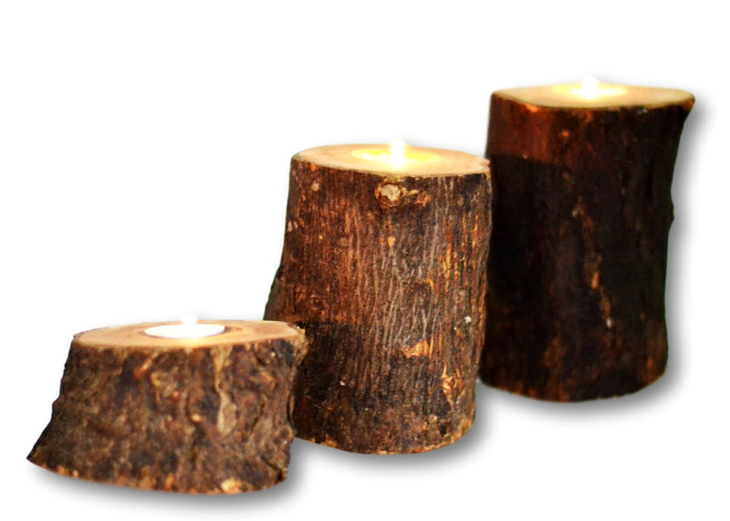 wooden olive wood Natural Trunks Candle Holders Set of 3 with 3 small candles porte-bougie en bois d'olivier by MR OLIVEWOOD® wholesale manufacturer US based supplier USA Canada