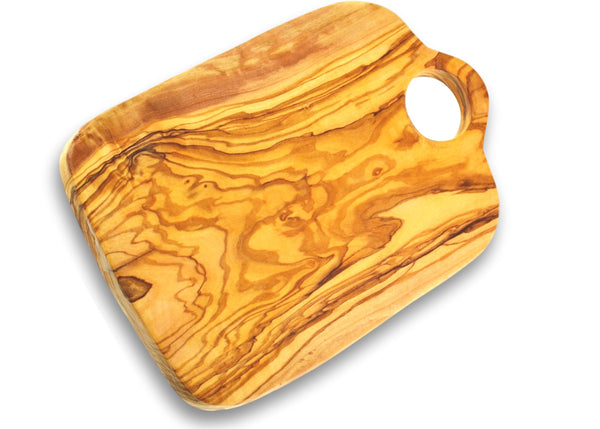 wooden olive wood chopping cutting carving cheese steak serving board with hole planche en bois d'olivier by MR OLIVEWOOD® Wholesale USA Canada