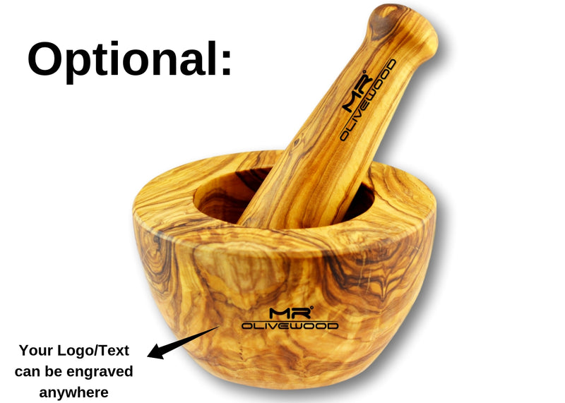 wooden Olive Wood pestle and mortar with flat edge personalized branding by engraving by MR OLIVEWOOD® wholesale manufacturer US based supplier USA Canada