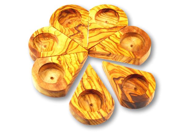 wooden olive wood flower candle holders set of 7 porte-bougie en bois d'olivier by MR OLIVEWOOD® wholesale manufacturer US based supplier USA Canada