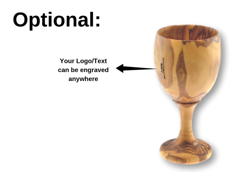 wooden olive wood Goblet / Chalice Cup optional branding by engraving personalized verre coupe gobelet en bois d'olivier by MR OLIVEWOOD® wholesale manufacturer US based supplier USA Canada