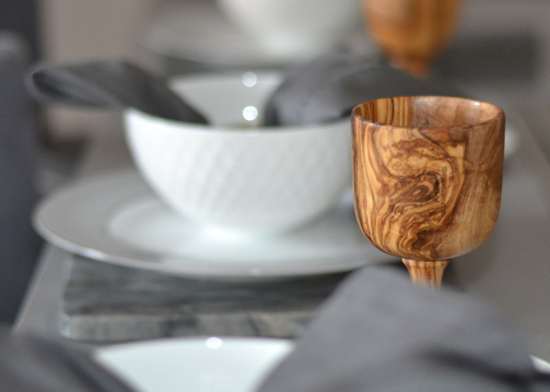 wooden olive wood Goblet / Chalice Cup tableware verre coupe gobelet en bois d'olivier by MR OLIVEWOOD® wholesale manufacturer US based supplier USA Canada