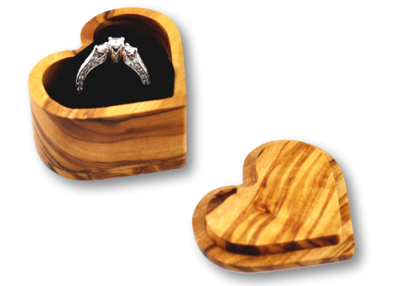 wooden olive wood Heart Shaped Ring Jewellery Box open with ring  boîte Coffret bague bijoux en bois d'olivier by MR OLIVEWOOD® wholesale manufacturer US based supplier USA Canada