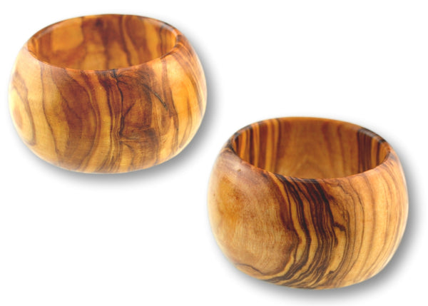 wooden olive wood napkin rings set of 2 ronds de serviette en bois d'olivier by MR OLIVEWOOD® wholesale manufacturer US based supplier USA Canada