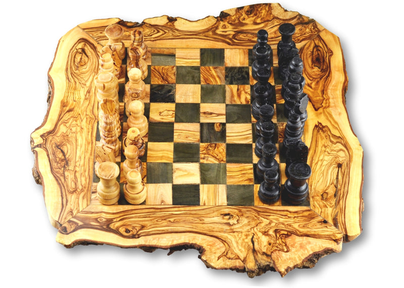 wooden olive wood Rustic Chess Board with Chess Pieces Echiquier Table jeu d'échecs rustique  en bois d'olivier by MR OLIVEWOOD® wholesale manufacturer US based supplier USA Canada