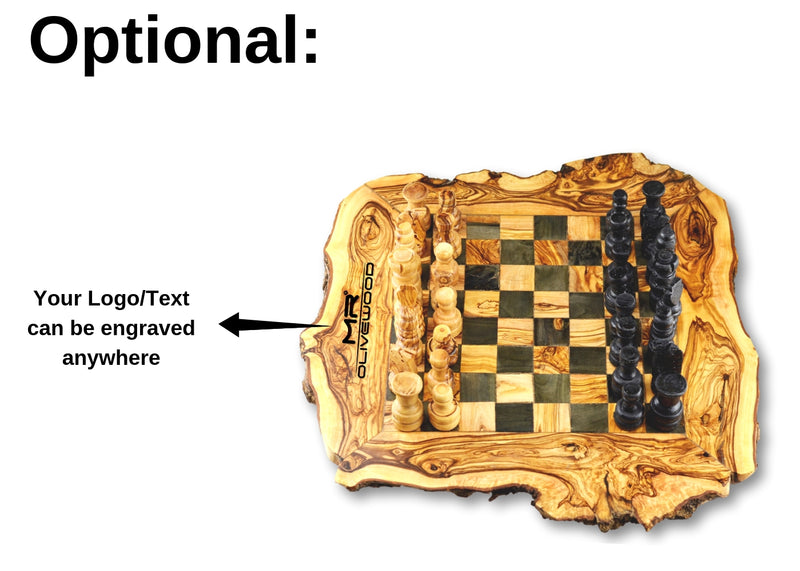 wooden olive wood Rustic Chess Board with Chess Pieces optional branding by engraving personalized Echiquier Table jeu d'échecs rustique  en bois d'olivier by MR OLIVEWOOD® wholesale manufacturer US based supplier USA Canada