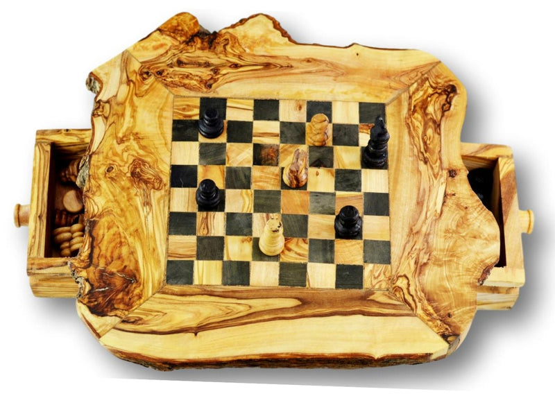 wooden olive wood Rustic Chess Board board with 2 Drawers and Chess Pieces Echiquier Table jeu d'échecs rustique  en bois d'olivier by MR OLIVEWOOD® wholesale manufacturer US based supplier USA Canada