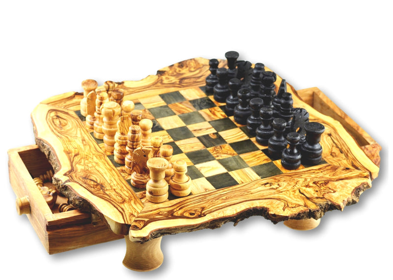 wooden olive wood Rustic Chess Board with 4 legs, 2 Drawers and Chess Pieces in 3 sizes  Echiquier Table jeu d'échecs rustique  en bois d'olivier by MR OLIVEWOOD® wholesale manufacturer US based supplier USA Canada