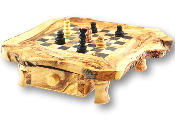 wooden olive wood Rustic Chess Board with 4 legs, 2 Drawers and Chess Pieces Echiquier Table jeu d'échecs rustique  en bois d'olivier by MR OLIVEWOOD® wholesale manufacturer US based supplier USA Canada