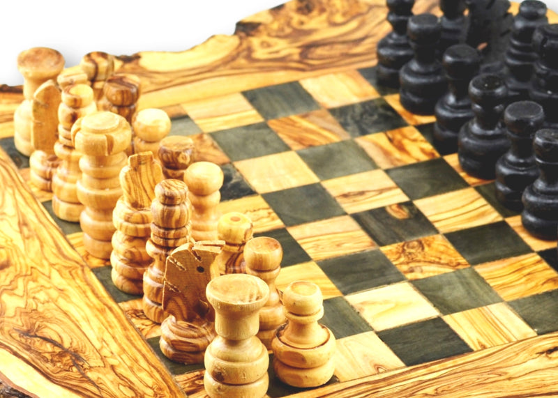 wooden olive wood Rustic Chess Board and Chess Pieces Echiquier Table jeu d'échecs rustique  en bois d'olivier by MR OLIVEWOOD® wholesale manufacturer US based supplier USA Canada