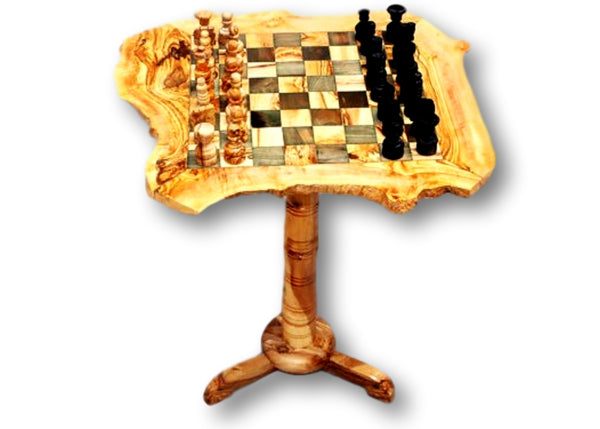 wooden olive wood Rustic Chess Board Table with 2 Drawers and Chess Pieces Echiquier Table jeu d'échecs rustique  en bois d'olivier by MR OLIVEWOOD® wholesale manufacturer US based supplier USA Canada