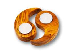 wooden olive wood 69 shape candle holders set of 2 porte-bougie en bois d'olivier by MR OLIVEWOOD® wholesale manufacturer US based supplier USA Canada