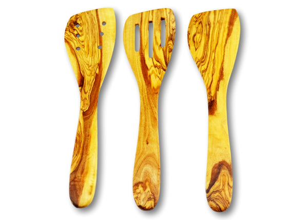wooden olive wood set of 3 cooking spatula cuillère de cuisson spatule en bois d'olivier by MR OLIVEWOOD® wholesale manufacturer US based supplier USA Canada