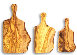 wooden olive wood chopping cutting carving cheese steak serving rustic board with paddle set of 3 planche en bois d'olivier by MR OLIVEWOOD® Wholesale USA Canada