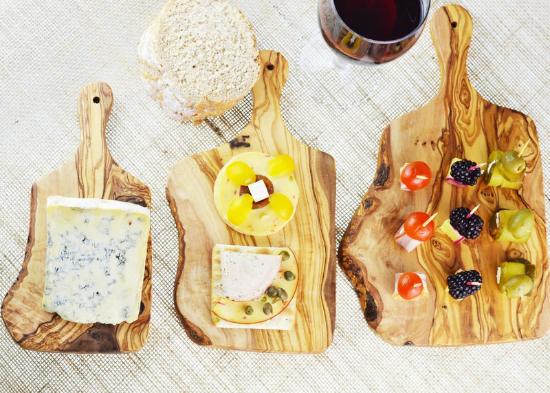 wooden olive wood chopping cutting carving cheese steak serving food rustic board with paddle set of 3 planche en bois d'olivier by MR OLIVEWOOD® Wholesale USA Canada