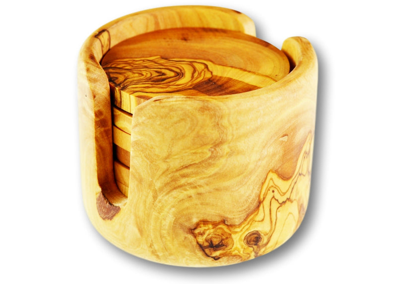 wooden olive wood set of 6 coasters in a non rustic holder sous dessous de Verres en bois d'olivier by MR OLIVEWOOD® wholesale manufacturer US based supplier USA Canada