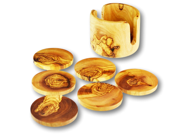 wooden olive wood set of 6 coasters out of non rustic holder sous dessous de Verres en bois d'olivier by MR OLIVEWOOD® wholesale manufacturer US based supplier USA Canada