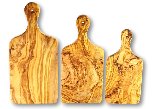 wooden olive wood chopping cutting carving cheese steak serving boards with paddle set of 3 planche en bois d'olivier by MR OLIVEWOOD® Wholesale USA Canada